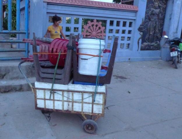 Das Mobiliar eines Trottoirrestaurants